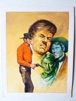 #08. Original Cover painting Western novel Rurales de Texas