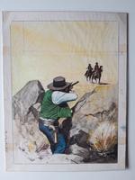 #80. Original Cover painting western novel Cuatreros #66
