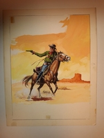 #121. Original Cover painting western novel Cuatreros #5